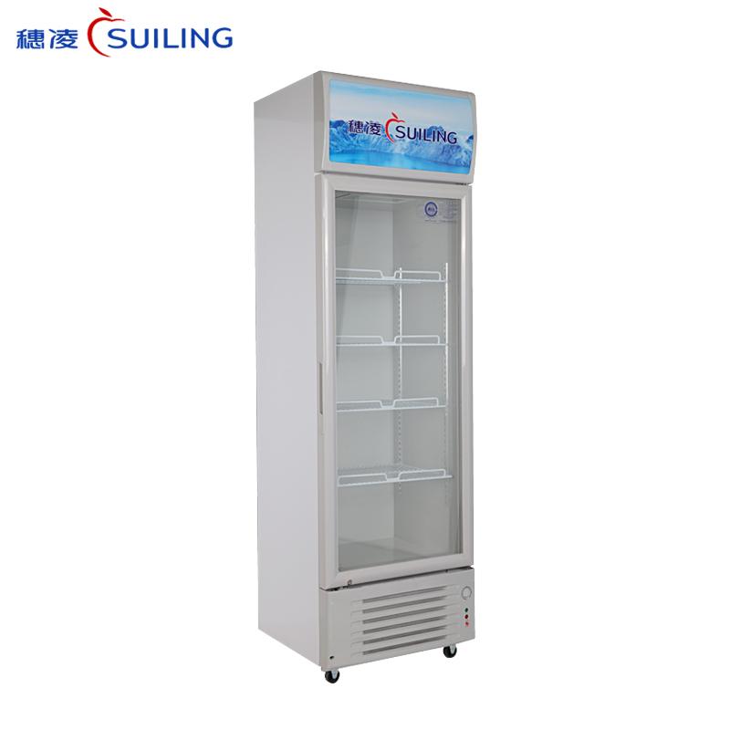 穗凌LG4-209/259/319LT商用单温直冷展示冰柜 玻璃门饮料柜 冷藏保鲜立式单门冰柜(LG4-319LT)
