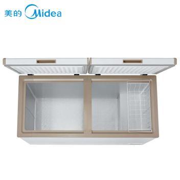 美的(Midea)BD/BC-415DKEM 415升 双门冷冻冷藏冷柜 单温卧式冰柜冷冻冷藏转换冷柜 时尚金(BD/BC-415DKEM 白色)